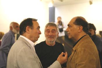 Susret na otvaranju izložbe: Ivan Ćurković, Ljuba Popović i Voja Brajović