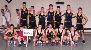 Mladi košarkaši iz Valjeva, Šapca, Loznice, S. Mitrovice i Inđije na turniru u Kosjeriću, maj 2000. godine