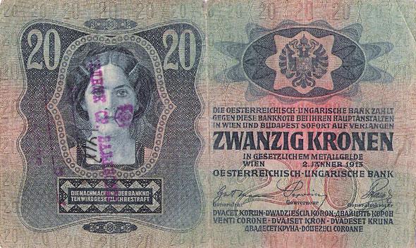 Austrougraska novčanica od 20 kruna verifikovana pečatom načelnika Sreza valjevskog