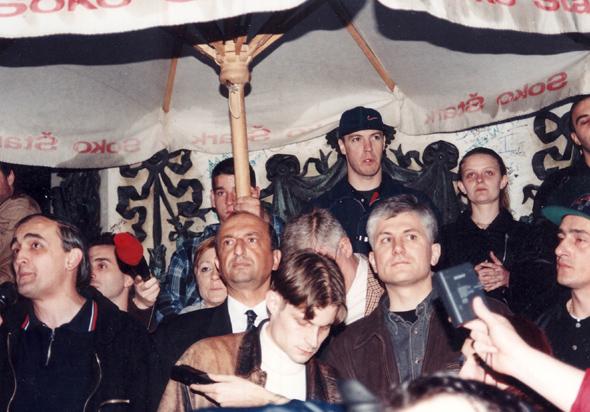Miroslav Trifunović, Vladan Batić i Zoran Đinđić na jednom političkom skupu