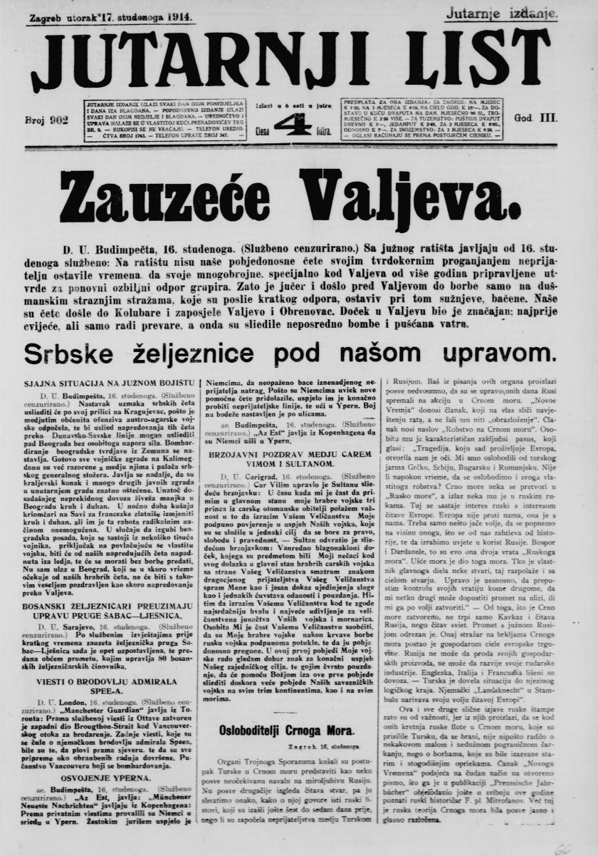 Jutarnji list, 17. novembar 1914.