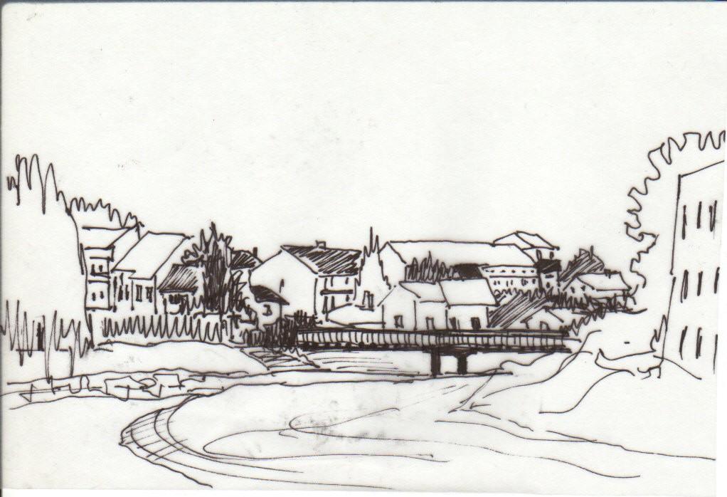 Drveni most na Jadru (crtež: Ljiljana Ljiljak)