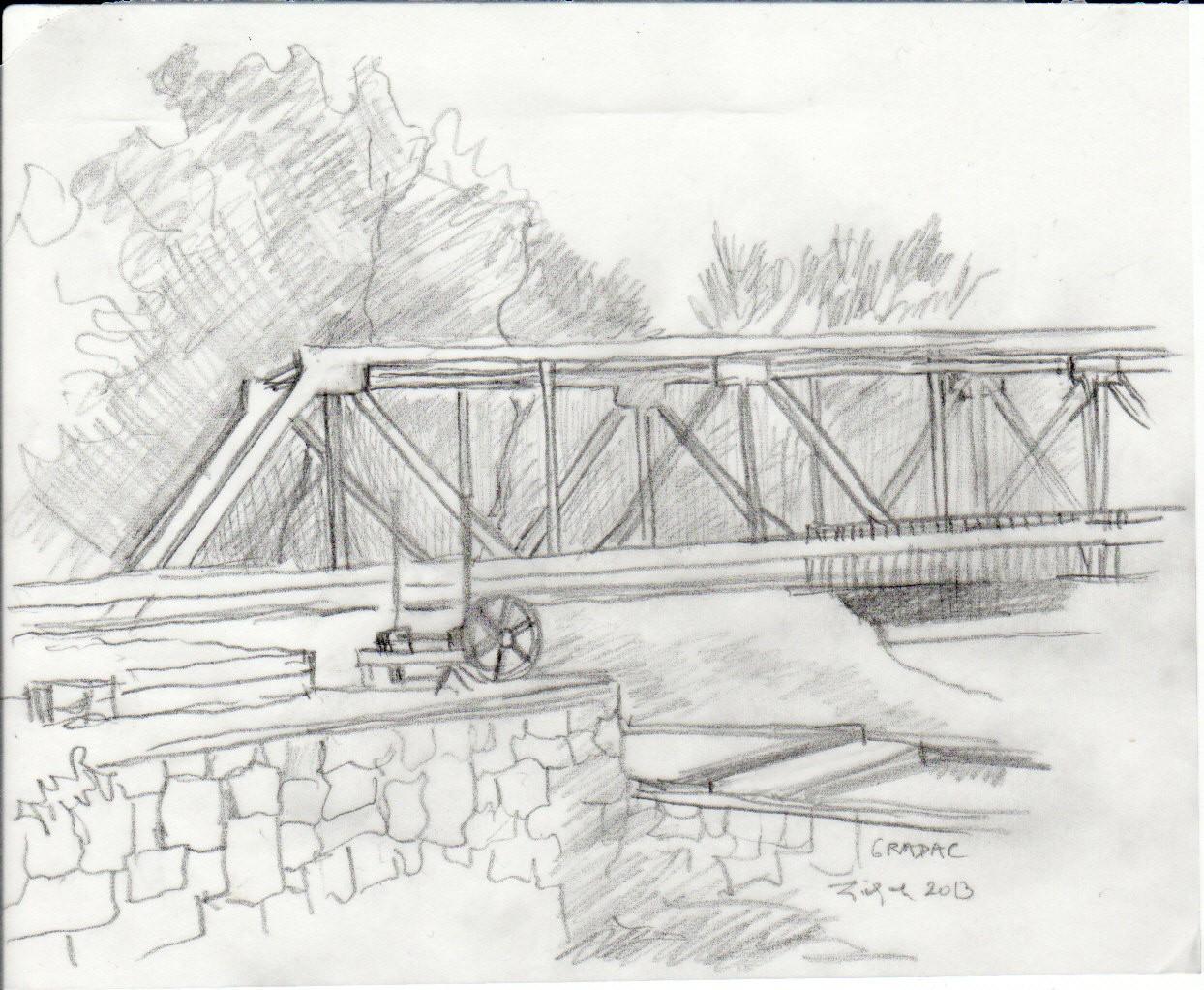 Gvozdeni most na Gradcu (crtež: Ljiljana Ljiljak)