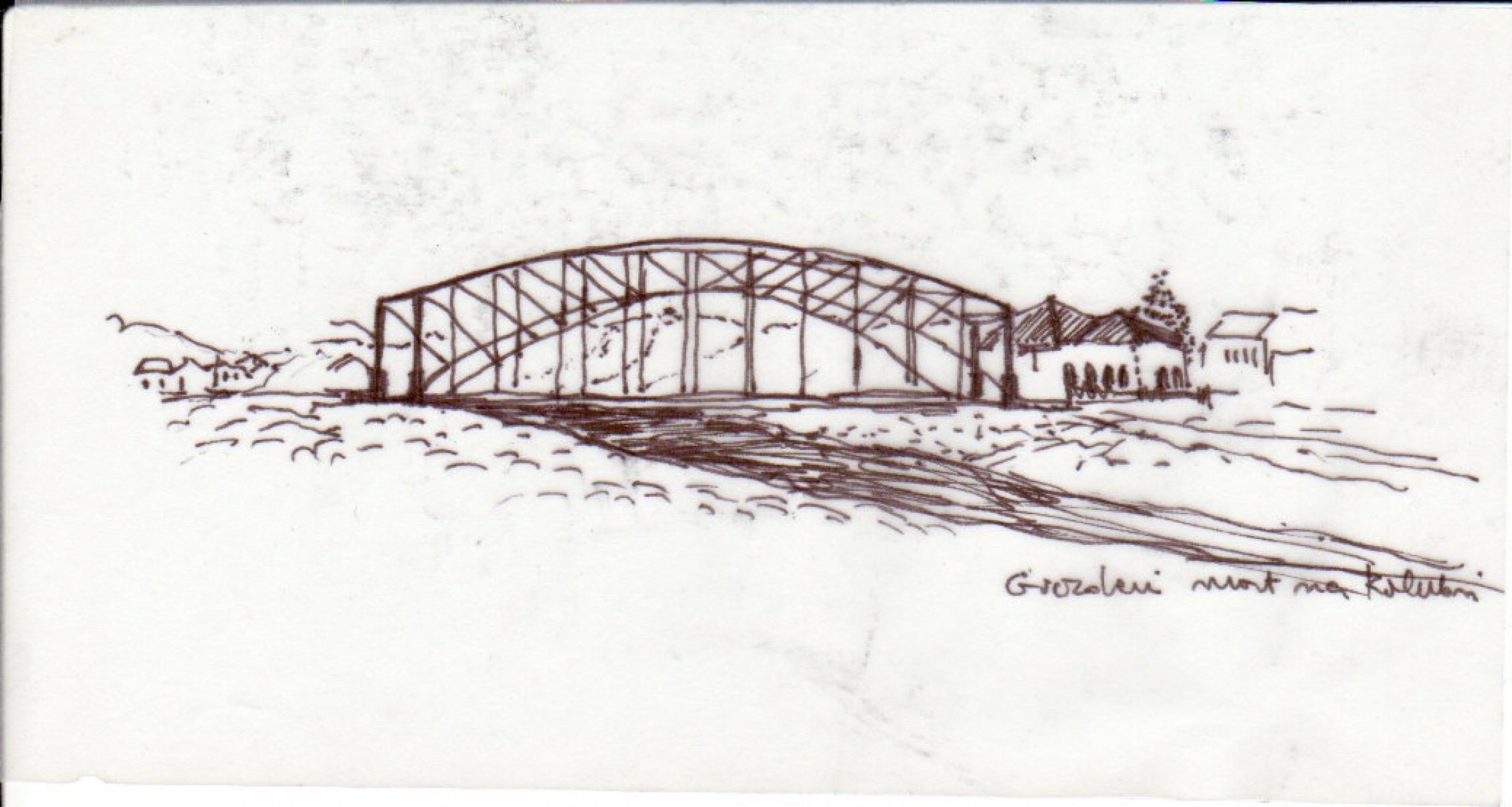 Gvozdeni most na Kolubari (crtež: Ljiljana Ljiljak)