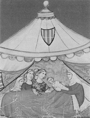 Rođenje Fridrihovo, minijatura  iz jednog srednjovekovnog rukopisa