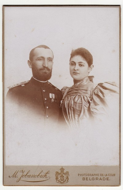 Vignetted portrait of Darinka and Steva Jovanović