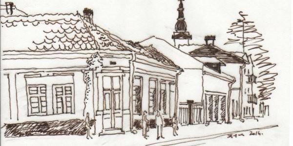 Kuća na uglu Pantićeve i Vuka Karadžića (crtež: Ljiljana Ljiljak)