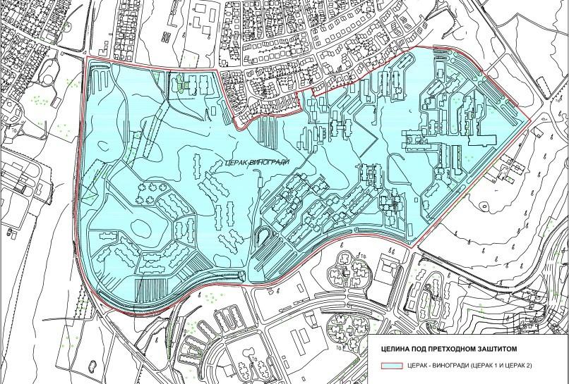 Cerak vinogradi, Mapa Zavoda za zaštitu spomenika kulture Beograda